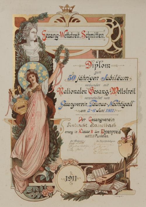 Die erste Wettbewerbs-Urkunde vom 5. Juni 1911